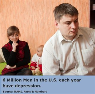 Depressed man with family