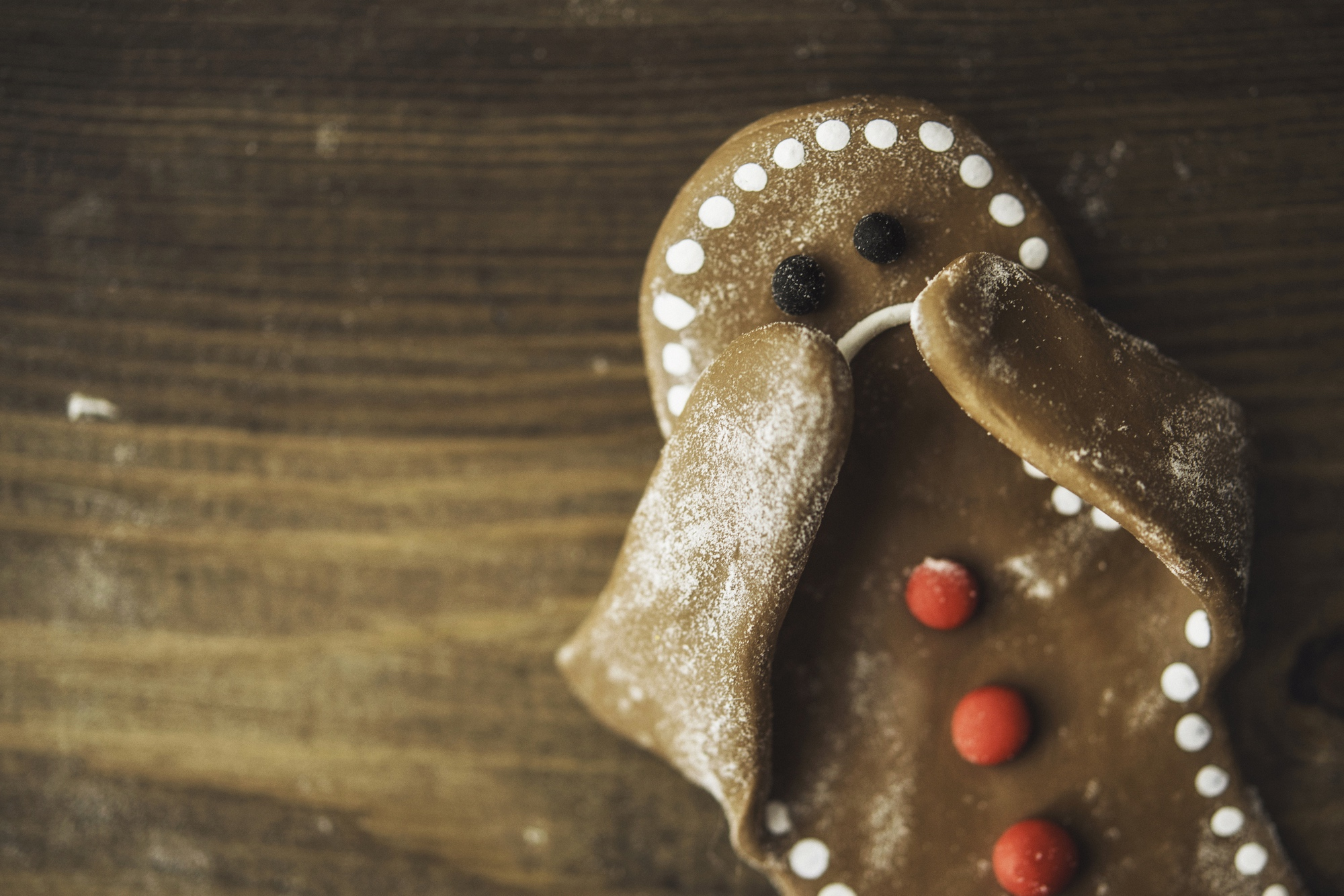 Sad Gingerbread Boy with Hands Up to Face