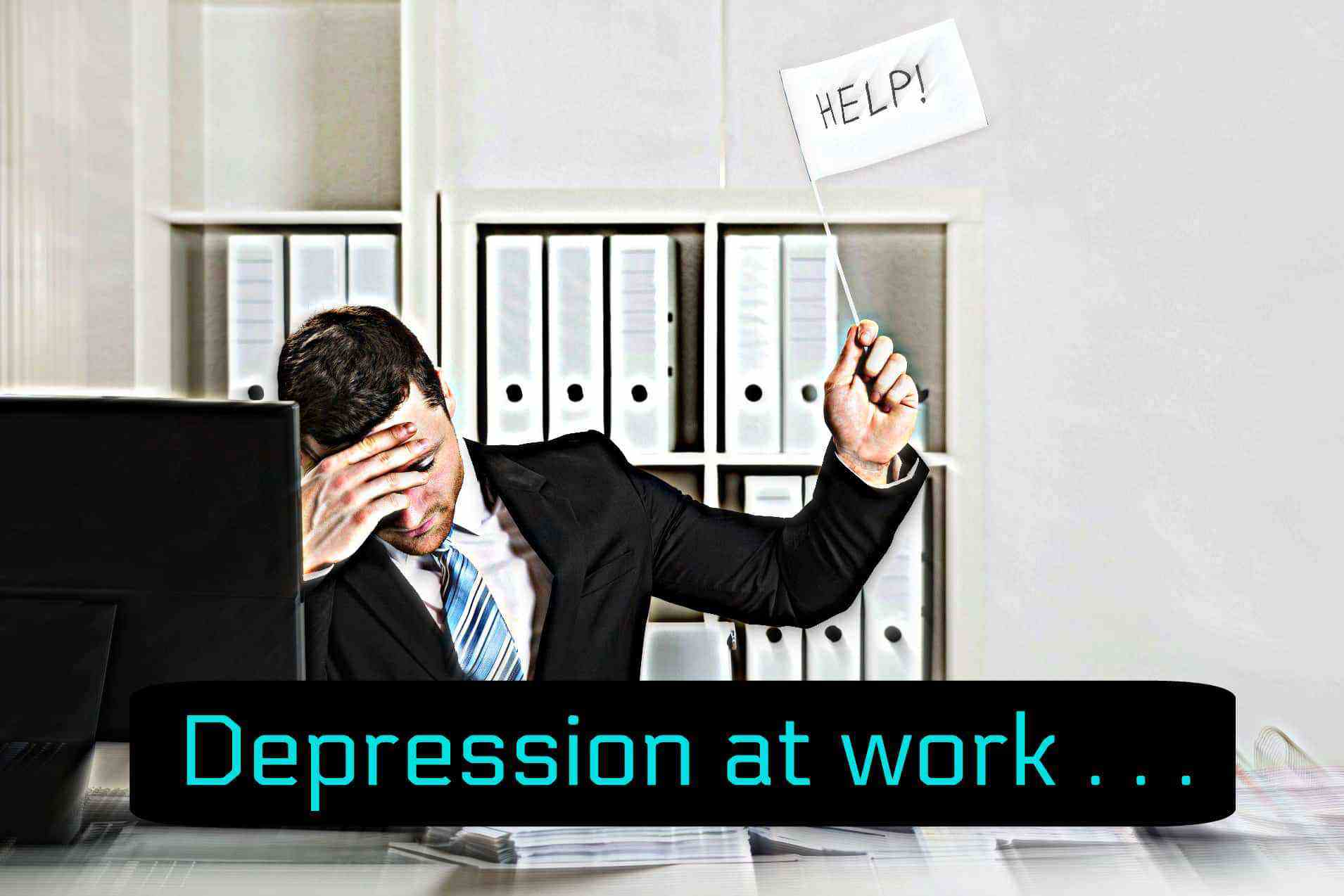 Depression Office Worker Holding Up Help Sign
