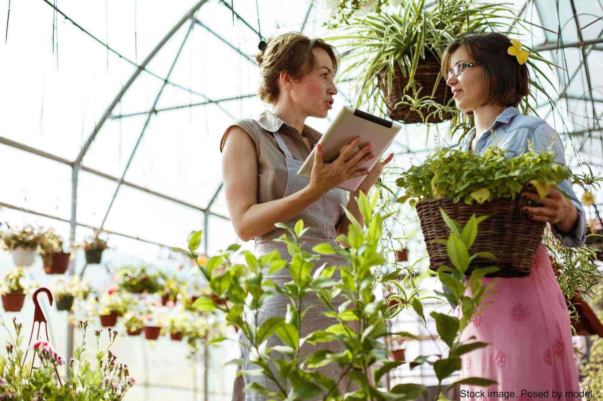 2 female greenhouse workers having a conversation
