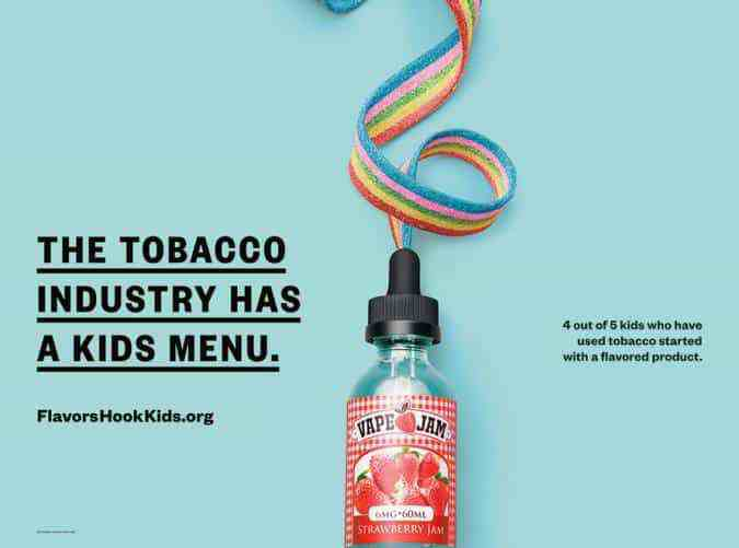 Anti-tobacco industry poster showing flavored vape product packaged like candy