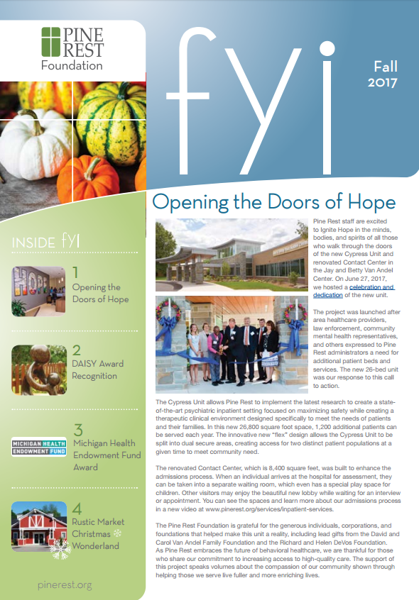 FYI newsletter cover - Fall 2017 issue