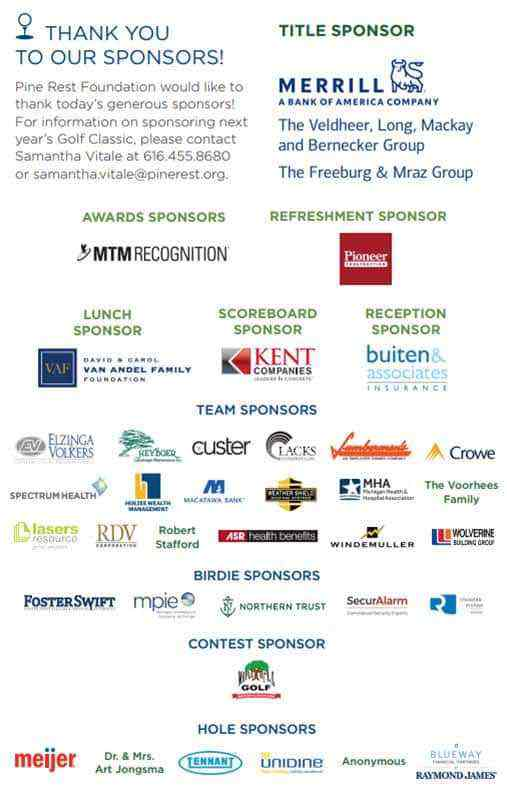 List of all company/organization sponsors of the 2019 Foundation Golf Classic event