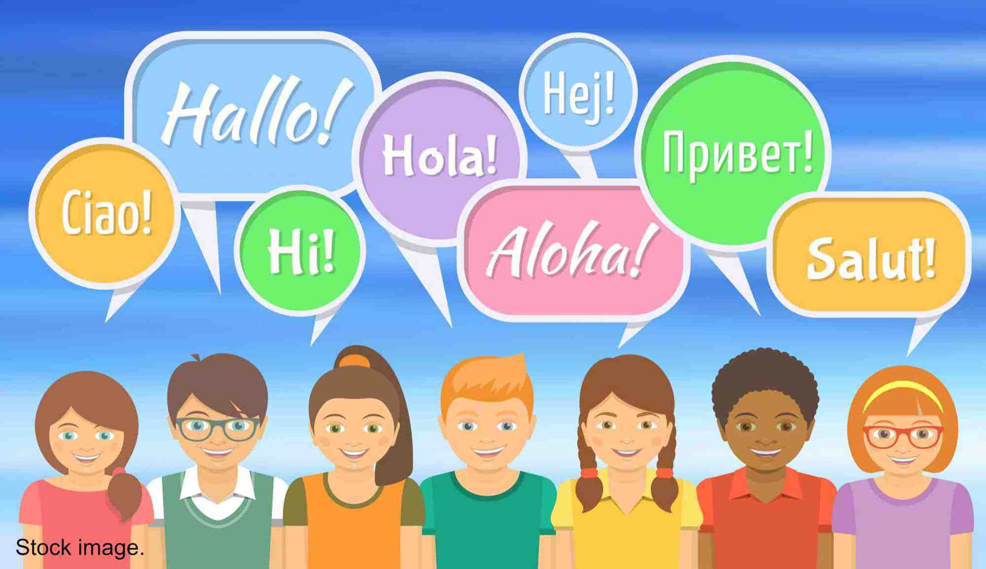 Cartoon of multicultural people saying 'hello' in their native language