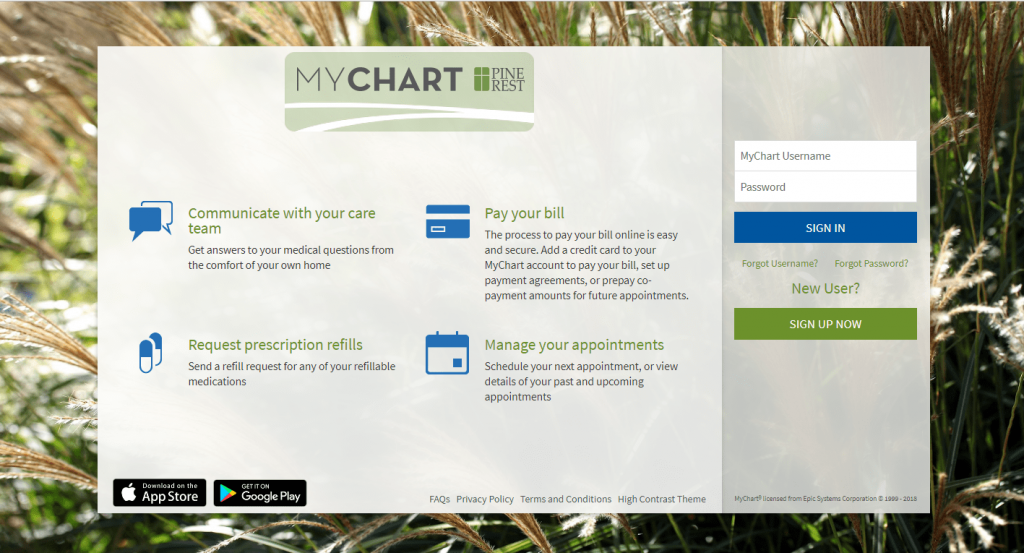 MyChart sign in screen