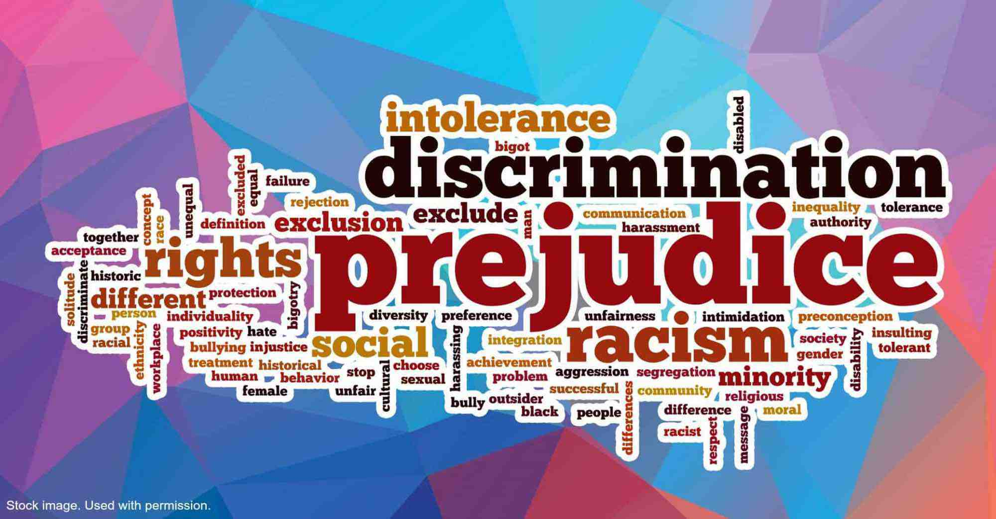 World cloud made up of terms associated with discrimination.