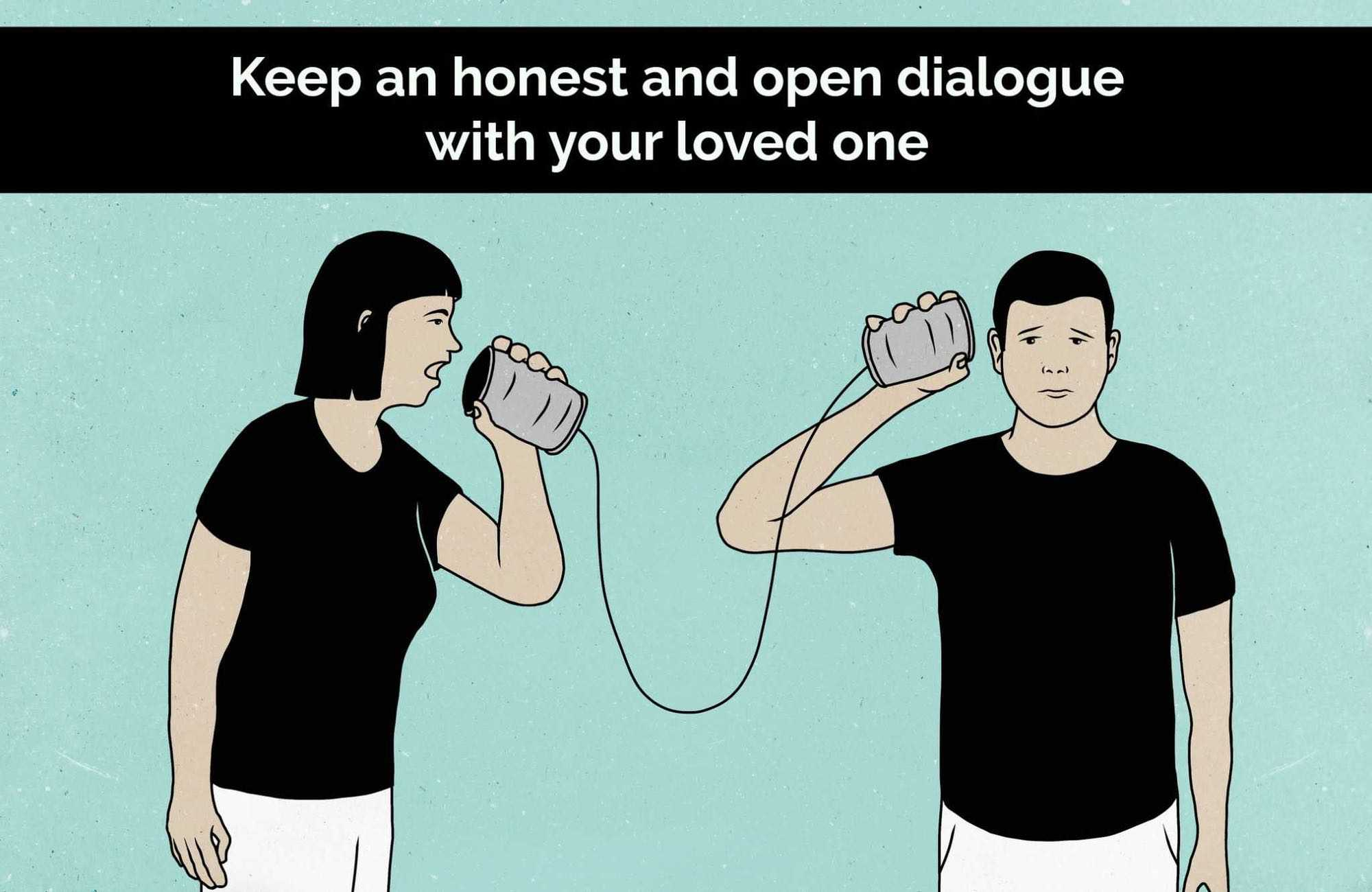 Cartoon of couple speaking through tin can phone
