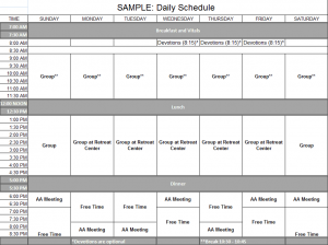 Sample: Daily Schedule for Detox and Short Term Residential. Click to view larger.
