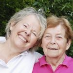 86 years old senior woman with mature daughter