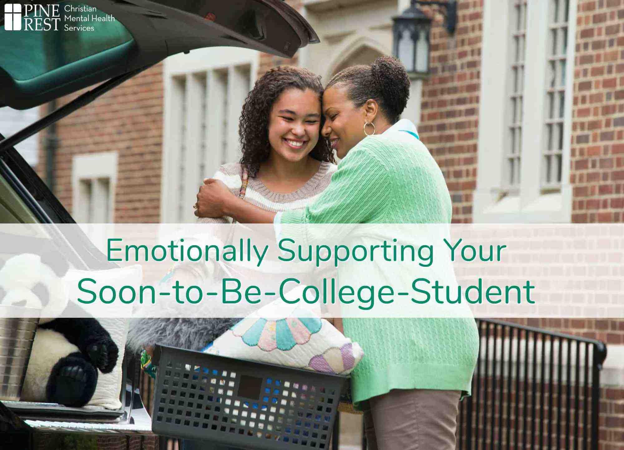 Mom hugging daughter at college drop off