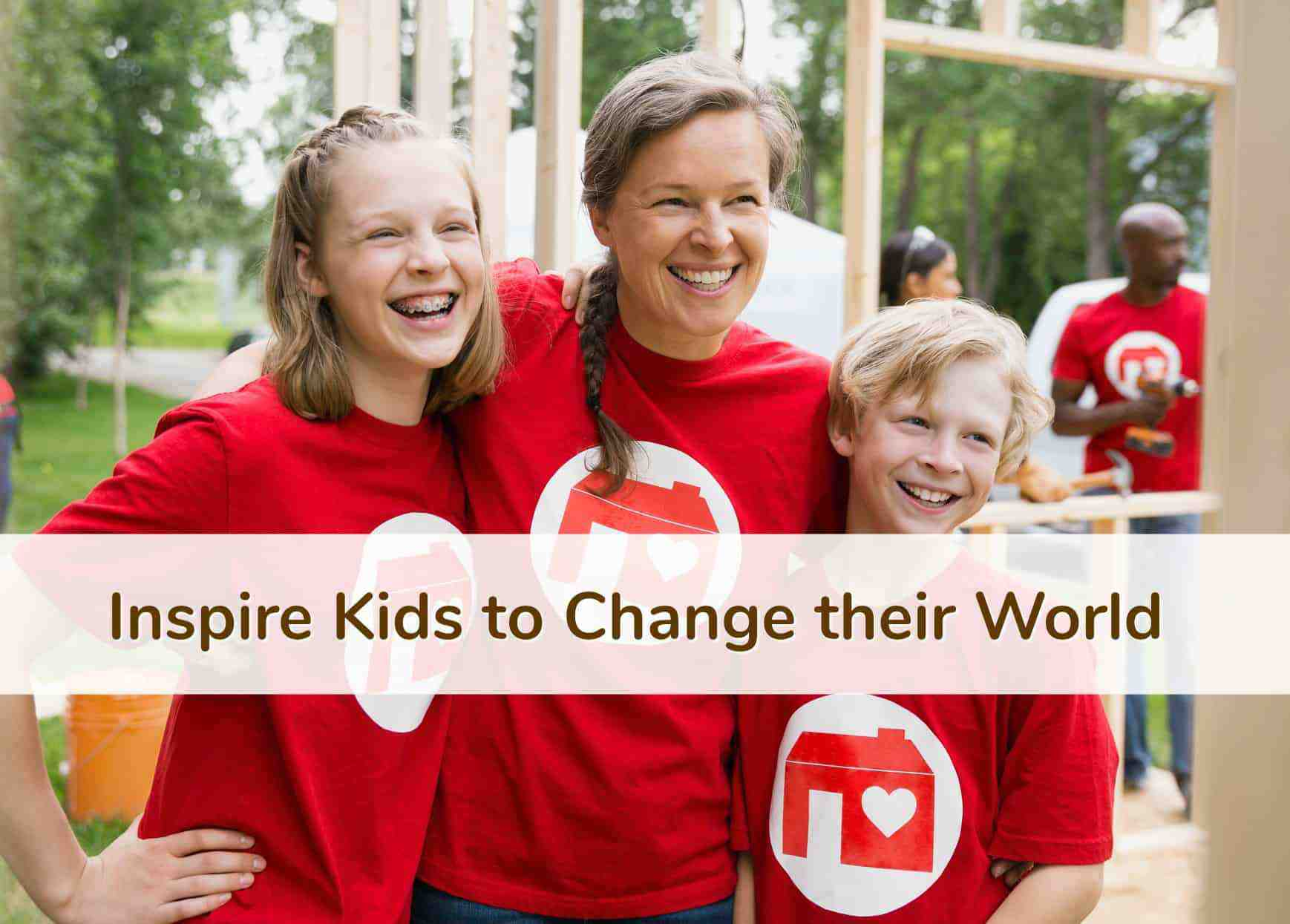 Smiling Mom & 2 kids wearing bright red Volunteer shirts